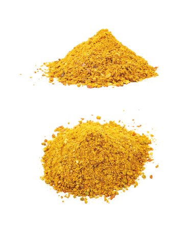 Pile of powdered curry spice isolated Stock Photo