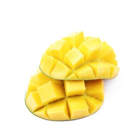 Sliced and cut mango fruit isolated
