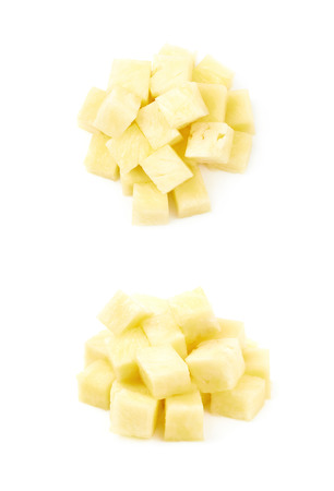 Pile of pineapple bits isolated