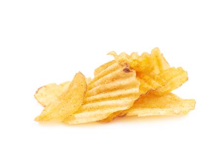 Pila de patatas fritas aislado Foto de archivo