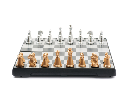 Chess board with figures isolated