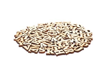 Circle made of wood carved letters