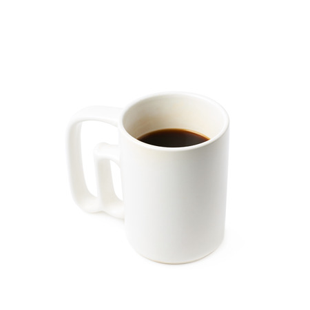 White ceramic cup of coffee isolated