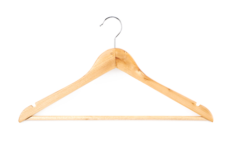 clotheshanger: Single white wooden hanger isolated