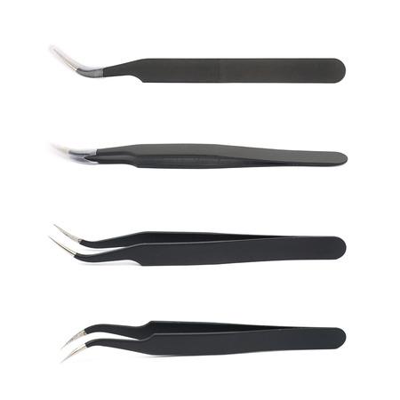 tweezers: Black tweezers tool isolated