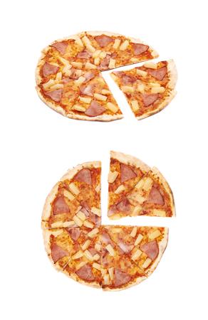 Hawaiian pizza composition isolated