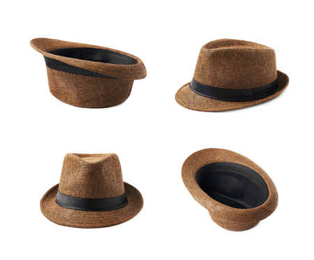 Brown fedora hat isolated