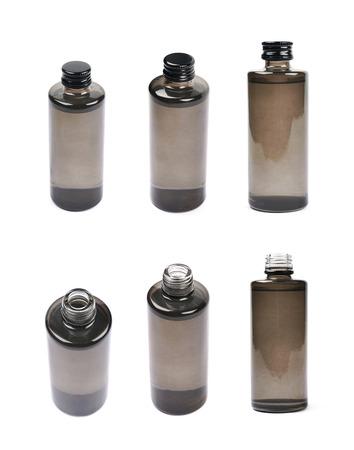 vial: Black glass bottle vial isolated