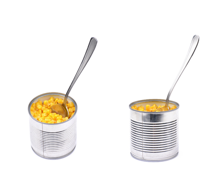 Canned corn in a tincan isolated