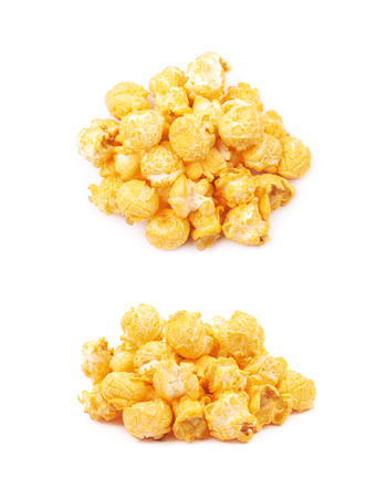 Pile of popcorn flakes isolated Stock Photo