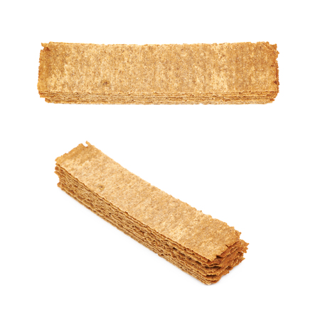 Pile of crispy bread chips isolated