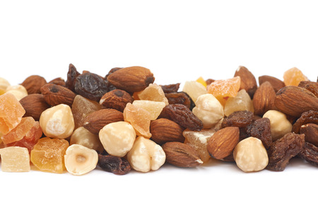 hazelnuts: Nuts and dried fruits mix isolated