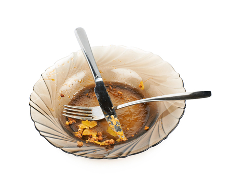Dirty food plate isolated