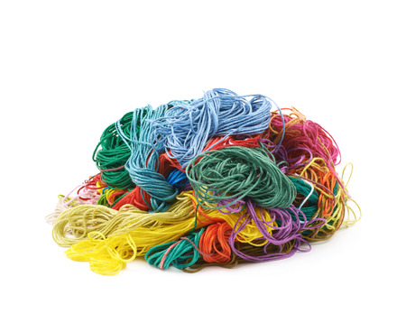 Mixed pile of yarn threads