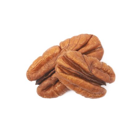 Two pecan nuts isolated
