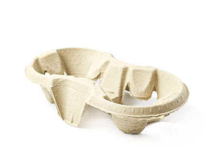 Pressed cardboard cup holder isolated Stock Photo