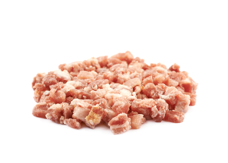 bacon bits: Pile of raw bacon bits isolated