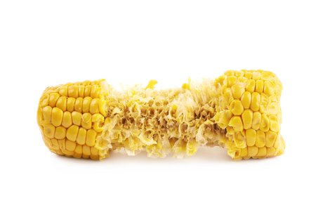 corncob: Half eaten corncob isolated Stock Photo