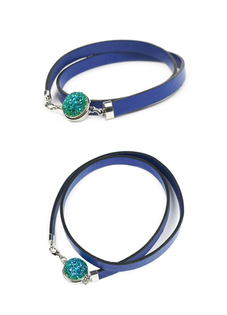 Blue leather necklace isolated