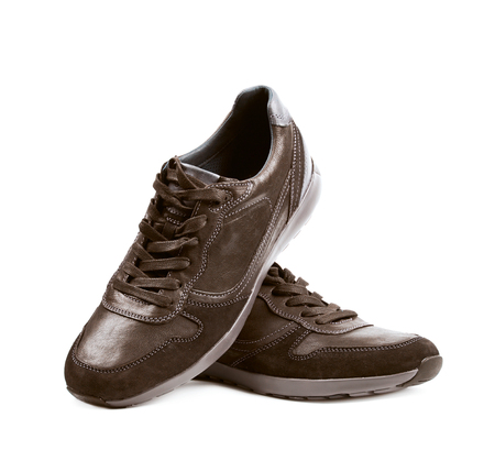 brown leather: Casual brown leather shoesisolated Stock Photo