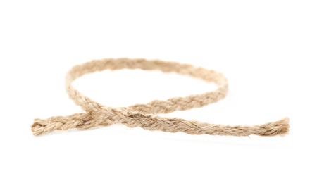 Fragment of a linen rope isolated