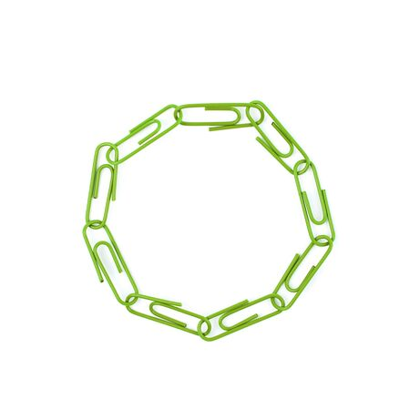 Round frame made of office clips Stock Photo