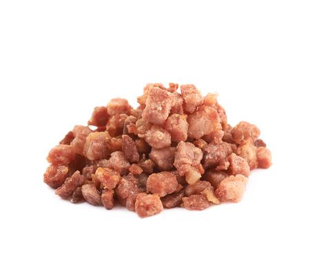 pancetta cubetti: Mucchio di bacon fritti isolato isolato Archivio Fotografico