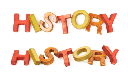 hist: Word History made of colored with paint wooden letters, composition isolated over the white background, set of two different foreshortenings