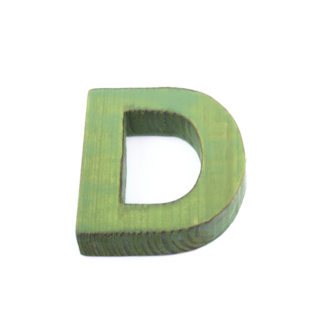 d mark: Single sawn wooden letter isolated