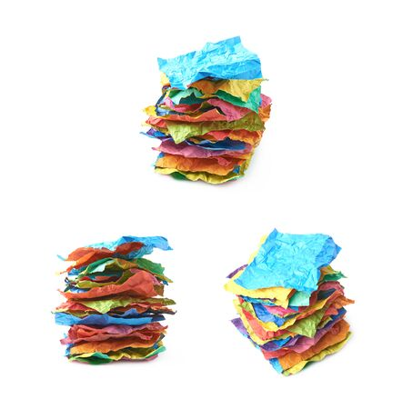 Pile of crumpled paper sheets isolated
