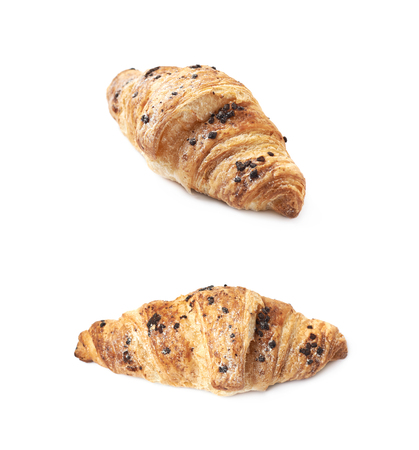 Chocolate croissant pastry isolated Stock Photo