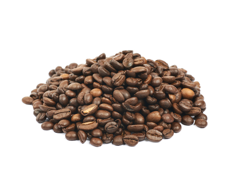 Pile of roasted coffee beans isolated Stock Photo
