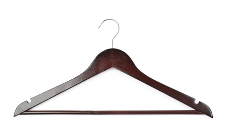 clotheshanger: Single dark wooden hanger isolated