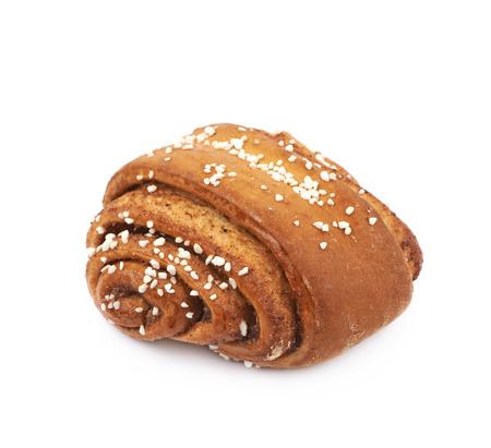 Cinnamon roll pastry bun isolated