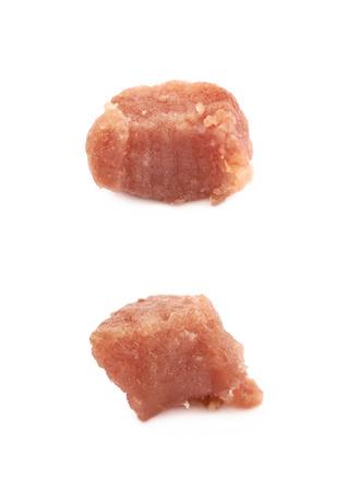 pancetta cubetti: Un pezzo di cubetto di pancetta fritto Archivio Fotografico