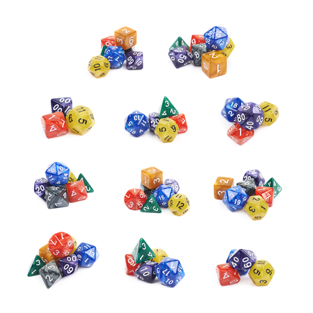 Pile of colorful roleplaying polyhedral dices isolated over the white background, set of multiple different foreshortenings Stock Photo