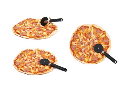 Whole hawaiian pizza sliced with a blade cutter, composition isolated the white background, set of three different foreshortenings