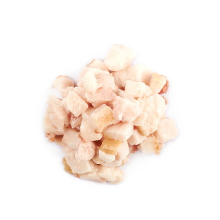 pancetta cubetti: Pile of bacon fat cube bits isolated over the white background