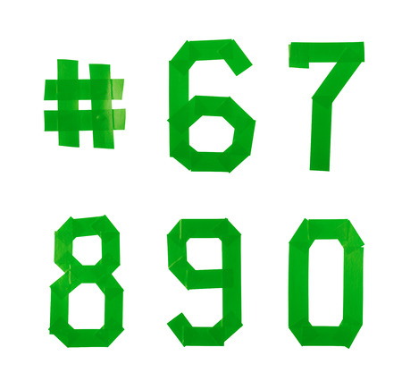 Set of five numbers made of insulating tape isolated over the white background Stock Photo