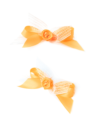 anniversary sale: Decorational bow with the tape flower, isolated over the white background, set of two different foreshortenings