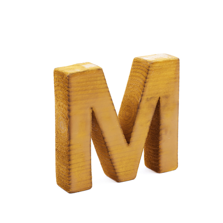 single sawn wooden letter m symbol coated with paint isolated over the white background stock photo