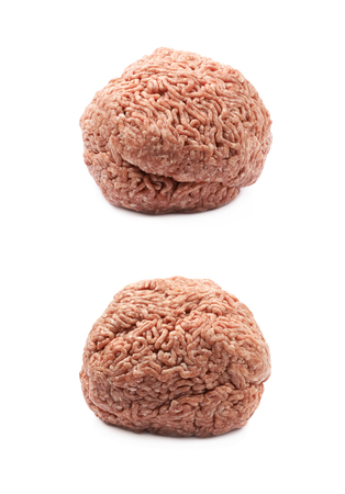 Ball of ground minced beef meat isolated over the white background, set of two different foreshortenings Stock Photo