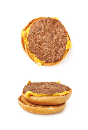 sandwitch: Opened burger sandwitch isolated over the white background, set of two different foreshortenings Stock Photo