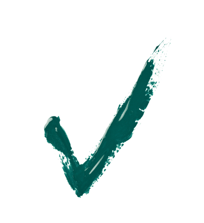 Yes tick mark sign made with a paint stroke isolated over the white background