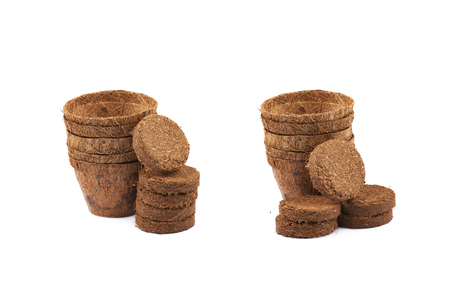 Degradable coconut pot next to a pile of compressed compost tablets, composition isolated over the white background, set of two different foreshortenings Stock Photo