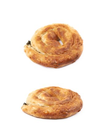 spinage: Cheese and spinach pastry bun isolated over the white background, set of two different foreshortenings