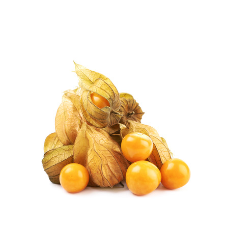 Pile of multiple physalis fruit berries isolated over the white background Stock Photo