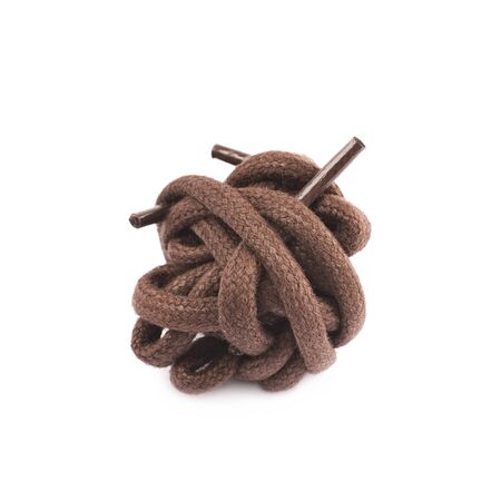 Shoelace crumpled in a ball isolated over the white background