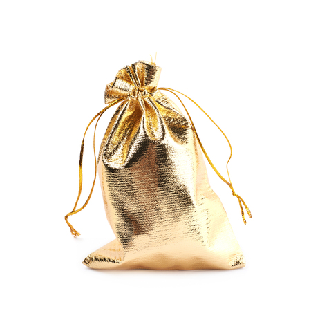 white fabric texture: Cloth gift bag with a lace stringing isolated over the white background Stock Photo
