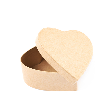 heart shaped: Paper heart shaped gift box isolated over the white background Stock Photo